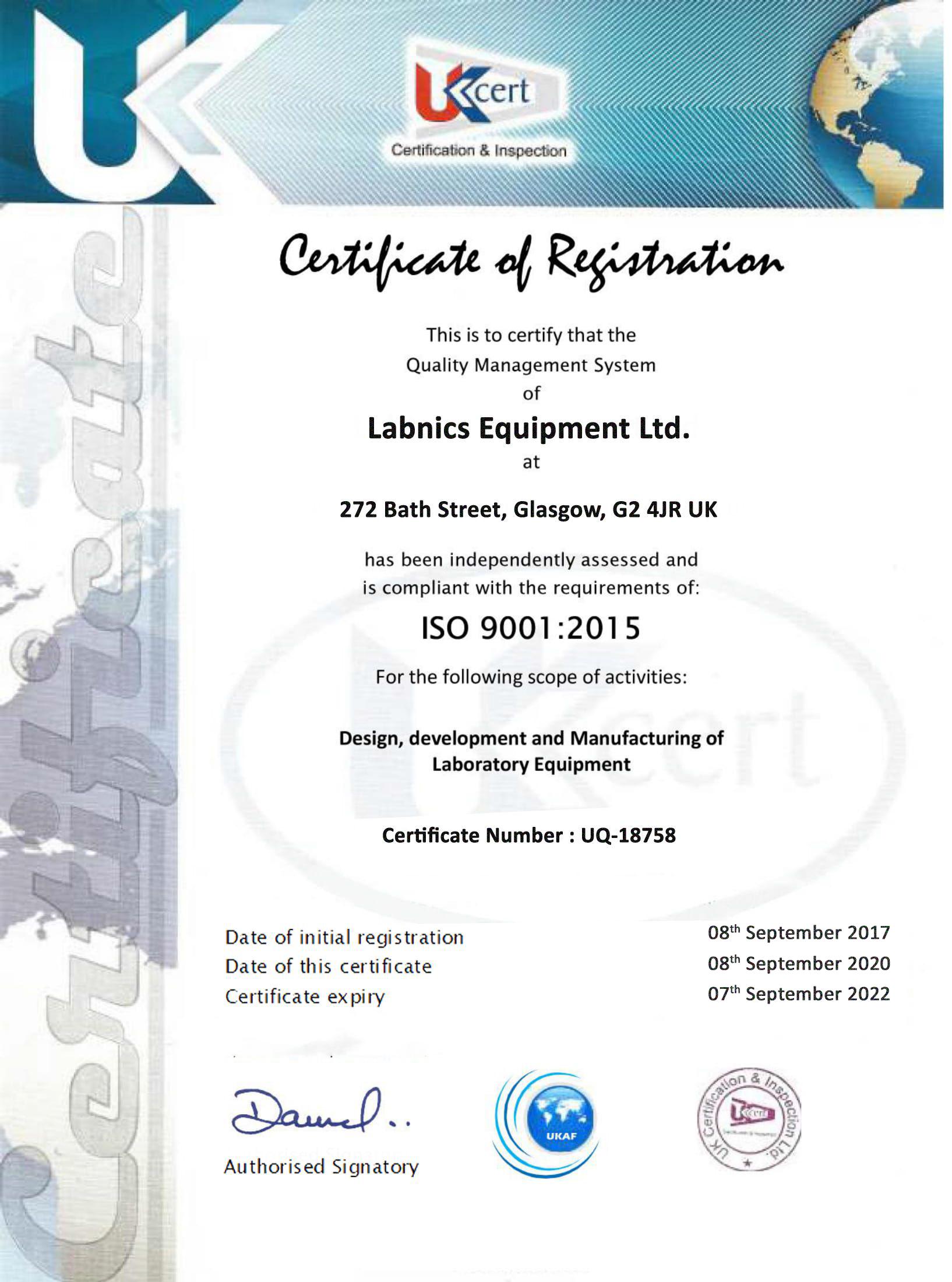 Labnics Equipment Ltd. ISO Certificate